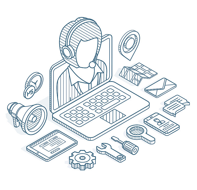 Illustration of a person with symbols for email, phone, etc